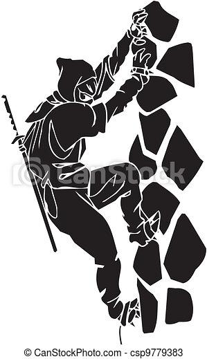Un caza ninja, ilustración de vector. Ya está. - csp9779383
