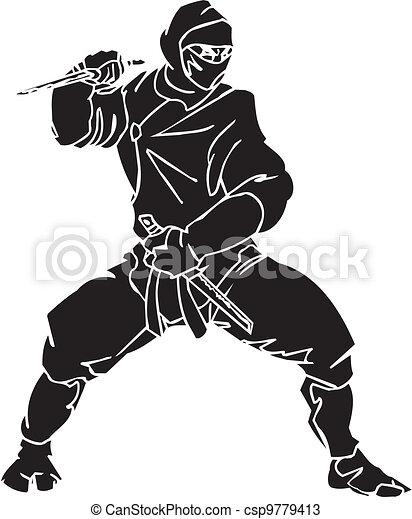 Un caza ninja, ilustración de vector. Ya está. - csp9779413