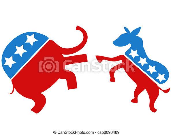 luchador, republicano, contra, elección, demócrata - csp8090489