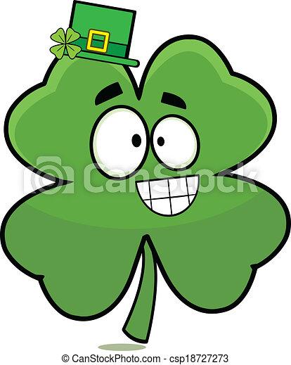 lucky four leaf clover cartoon cartoon of a grinning four leaf rh canstockphoto com four leaf clover cartoon drawing 4 leaf clover cartoon picture