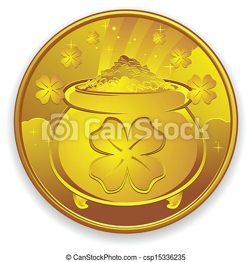 Lucky Gold Coin Cartoon - csp15336235