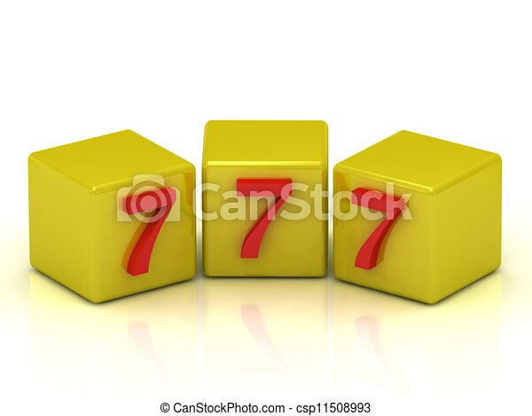 Lucky number seven on the yellow cubes isolated on white - Lucky number 7 wallpaper ...