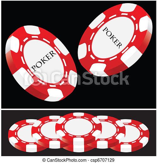 Lucky poker - red-white vector - csp6707129