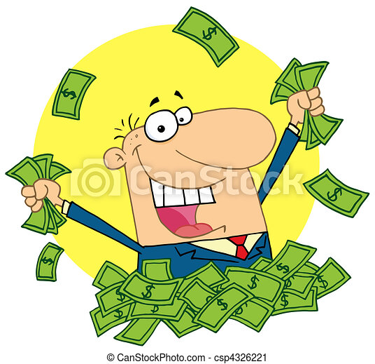 lucky rich man happy caucasian man in a pile of cash vector rh canstockphoto com Man Clip Art Man Carrying Cross Clip Art