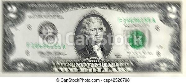 Lucky Two Dollar Bill. - csp42526798