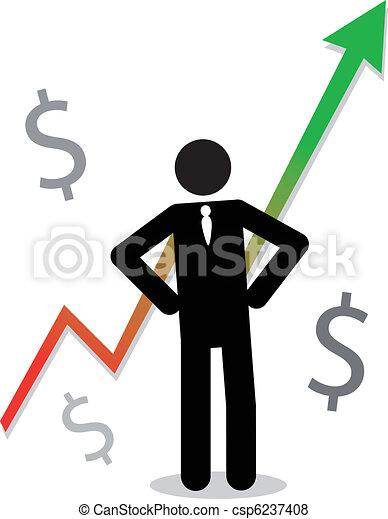 lucro, gráfico, mostrando, homem negócio - csp6237408
