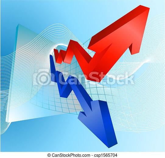 lucro, perda, setas, ilustração, gráfico - csp1565704