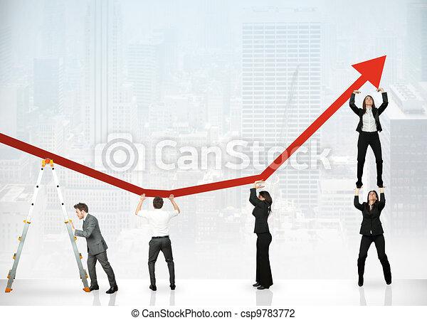 lucro, trabalho equipe, incorporado - csp9783772