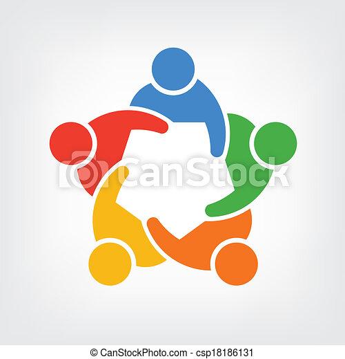 ludzie, 5, grupa, logo, drużyna - csp18186131