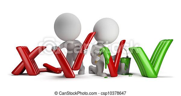 ludzie, dodatni, -, odmowa, mały, 3d - csp10378647