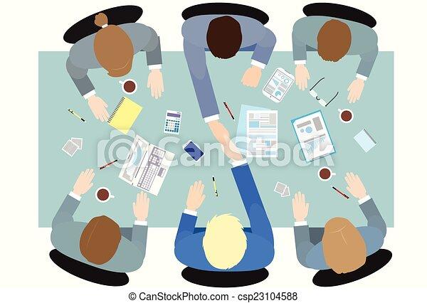 ludzie handlowe, kąt, prospekt, uzgodnienie, górny - csp23104588