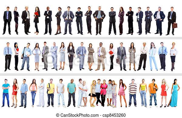 ludzie handlowe, odizolowany, komplet, biały - csp8453260