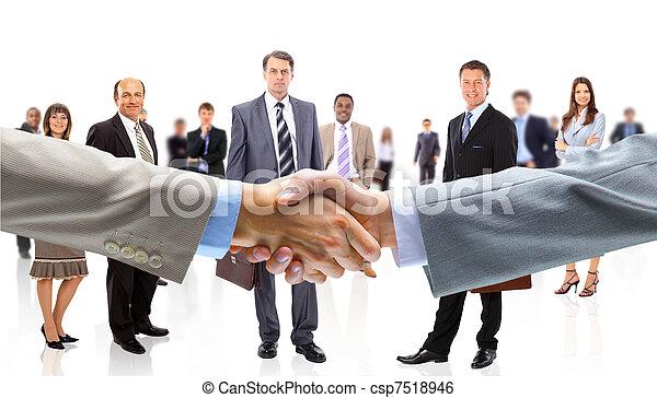 ludzie, potrząsanie, handlowy wręcza - csp7518946