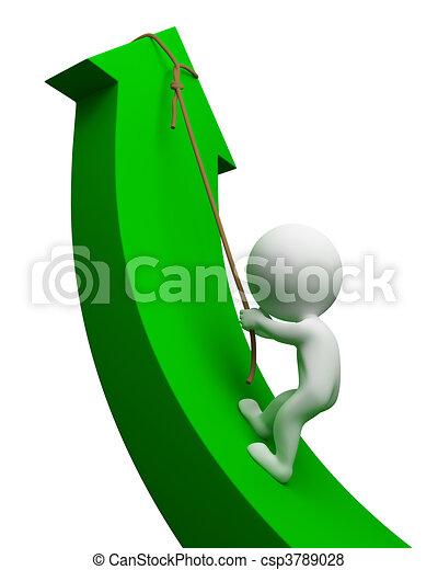 ludzie, -, strzała, mały, 3d, w górę - csp3789028