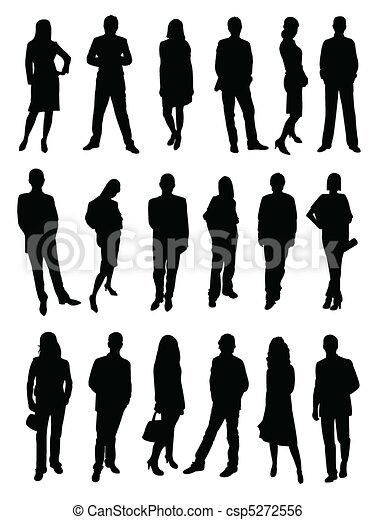 ludzie, sylwetka, handlowy - csp5272556