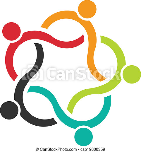 ludzie, teamwork, logo, 5, machać - csp19808359