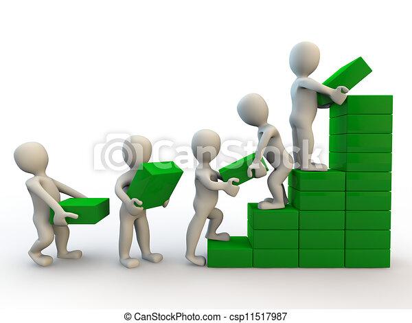 ludzki, wykres, wzrost, litery, zrobienie, 3d - csp11517987