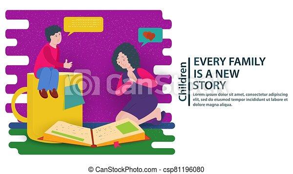 luego, postales, vector, diseñar, plano, libro, su, grande, lectura, ilustración, madre, sitios web, concepto, chico que sienta, padre, juntos, banderas, jarra, rodillas - csp81196080
