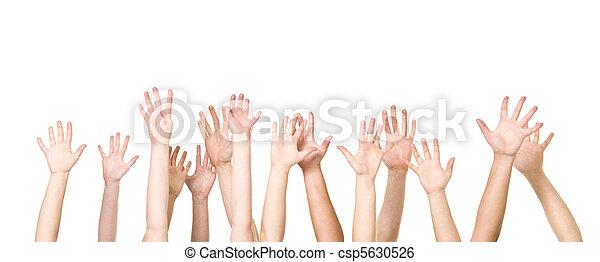 luft, gruppe, hænder - csp5630526