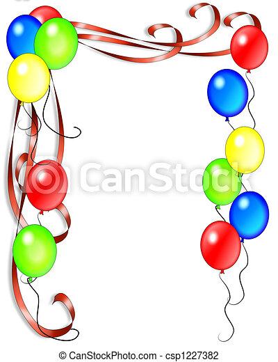 luftballone, geburstag, bänder - csp1227382