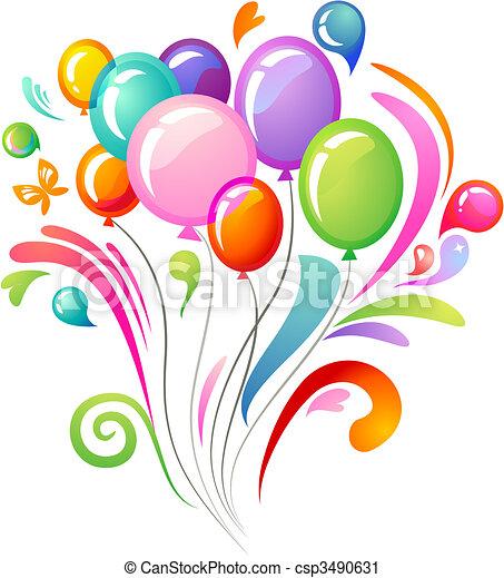 Farbspritzer mit Ballons - csp3490631