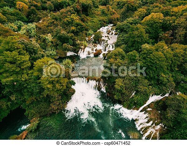 luftfoto, nationalpark, krka, wasserfälle, croatia. - csp60471452