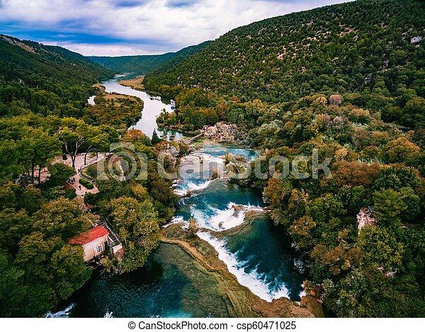 luftfoto, nationalpark, krka, wasserfälle, croatia. - csp60471025