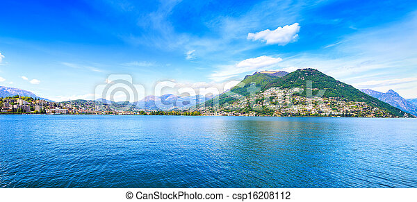 Lugano Lake panoramic landscape. City and mountains. Ticino, Swiss, Europe - csp16208112