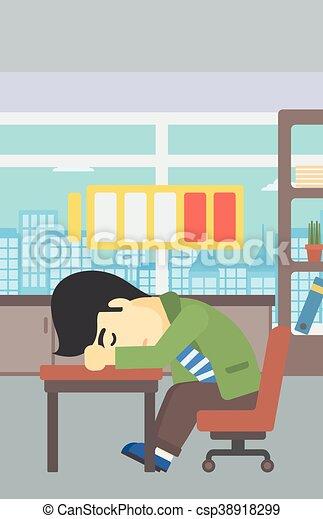 Hombre durmiendo en el lugar de trabajo ilustración vectorial. - csp38918299