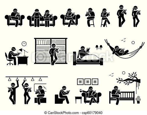Gente leyendo libros en diferentes lugares - csp60179040