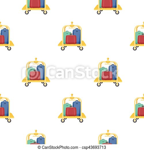 Luggage cart icon in cartoon style isolated on white background. Hotel symbol stock vector illustration. - csp43693713