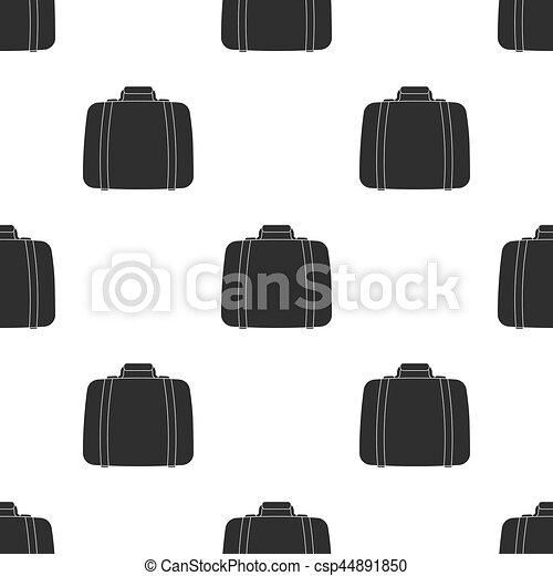 Luggage icon in black style isolated on white background. Hotel pattern stock vector illustration. - csp44891850