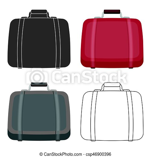 Luggage icon in cartoon style isolated on white background. Hotel symbol stock vector illustration. - csp46900396
