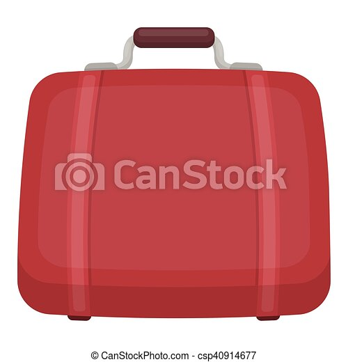 Luggage icon in cartoon style isolated on white background. Hotel symbol stock vector illustration. - csp40914677