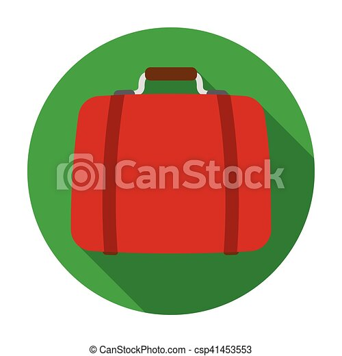 Luggage icon in flat style isolated on white background. Hotel symbol stock vector illustration. - csp41453553