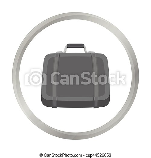 Luggage icon in monochrome style isolated on white background. Hotel symbol stock vector illustration. - csp44526653