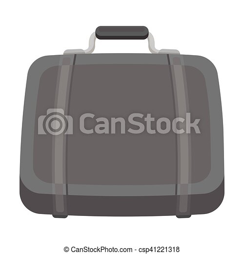 Luggage icon in monochrome style isolated on white background. Hotel symbol stock vector illustration. - csp41221318