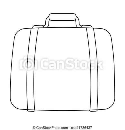 Luggage icon in outline style isolated on white background. Hotel symbol stock vector illustration. - csp41736437