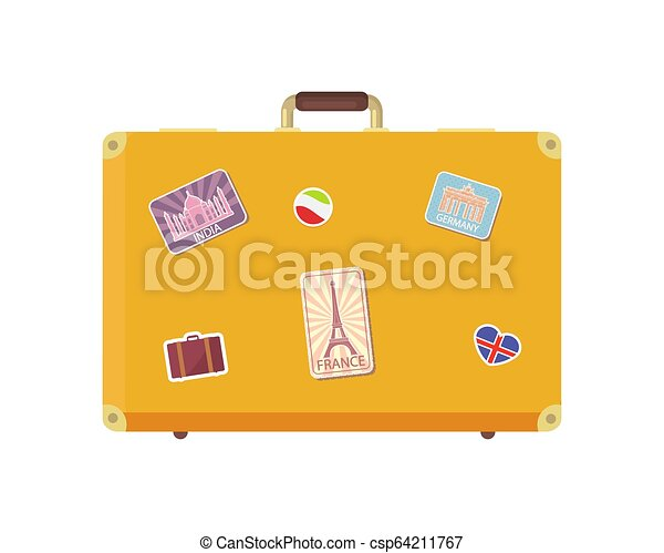 Luggage Time To Travel With Valise Icon Vector Luggage Time To Travel With Valise Decorated With Stickers Isolated Icons Set Canstock