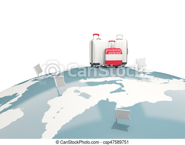 Luggage with flag of austria. Three bags on top of globe - csp47589751