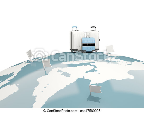 Luggage with flag of botswana. Three bags on top of globe - csp47589905