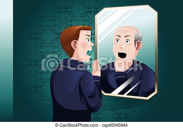 Lui m me plus vieux jeune regarder miroir homme for Miroir qui se colle