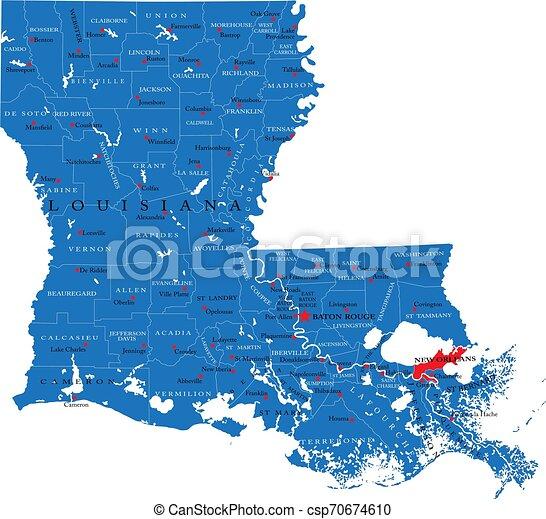 Mapa política estatal de Louisiana - csp70674610