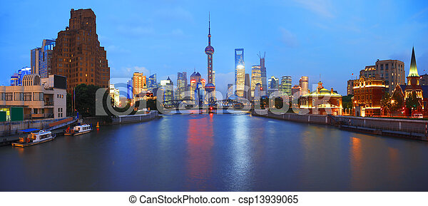 Lujiazui Finance&Trade Zone of Shanghai bund at New panorama lan - csp13939065