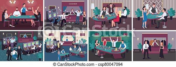 lujo, plano, establishment., caracteres, 2d, machine., efectivo, conseguir, victoria, rojo, ranura, premio, el apostar, set., caricatura, roulette., mujer, entretenimiento, casino, jugador, interior, ilustraciones, vector, hombre, color - csp80047094