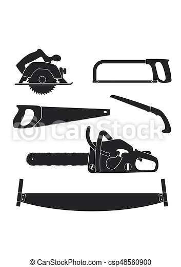 Lumberjack And Woodworking Tools Icons Isolated On White Background Axeman Instruments Saw Set Carpentry Tools For Sawing Wood Products Timber