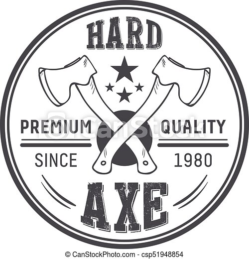 lumberjack axes round logo template vintage carpentry vector