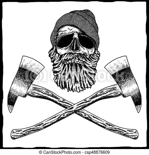 Lumberjack Effective Poster With Skull In Hat And Beard Vector