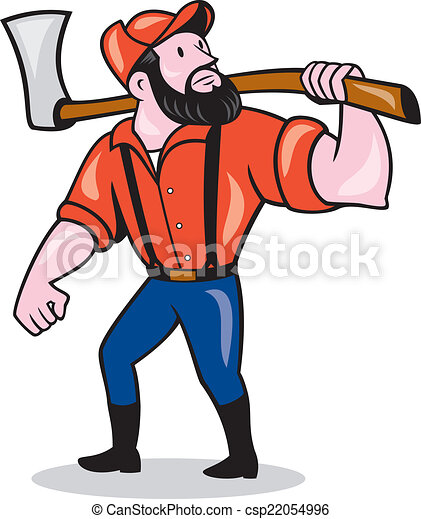 LumberJack Holding Axe Cartoon - csp22054996