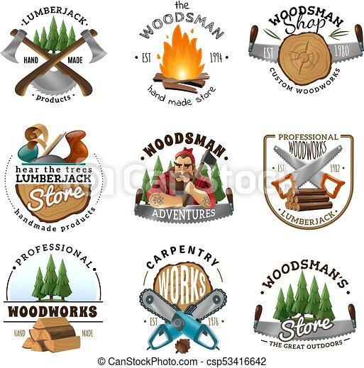 Lumberjack logo emblems labels set csp53416642